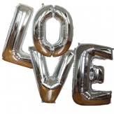 LOVE maxi balloons kit - Silver