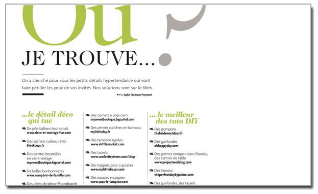 Mariée magazine article nov 2012