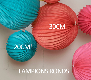 Lampions ronds tailles
