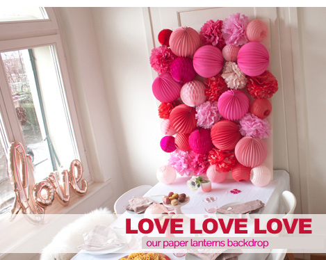red and pink paper lanterns backdrop for Valentine's day