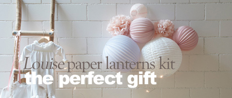paper lanterns set ready to hang on the wall