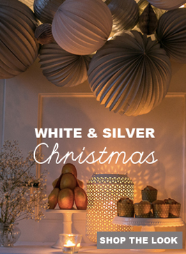 white and silver Christmas decorations