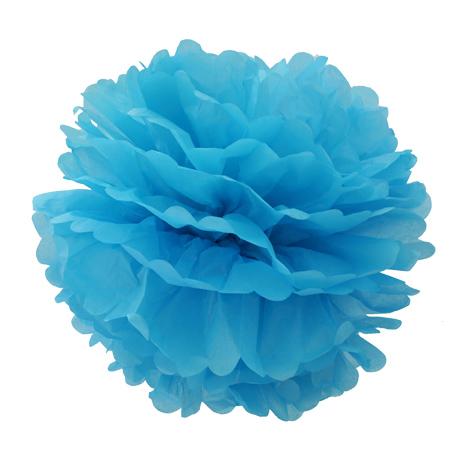 Pompon en papier - 40 cm - Mer turquoise