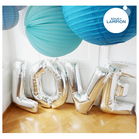 LOVE maxi balloons kit - Silver