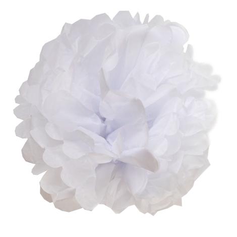 Pompon en papier blanc mariage