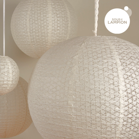 Lace paper lanterns for a wedding