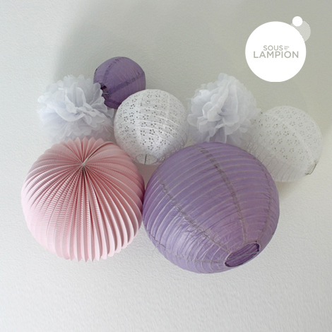 Kit De Lampions Dans Les Tons De Rose, Mauve Et Blanc