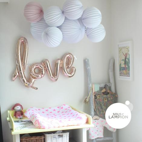 Bannière ballon LOVE calligraphié - 40cm - Rose gold