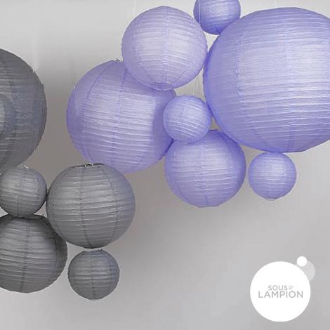 Lanterne en papier violet pastel pour décorer un mariage