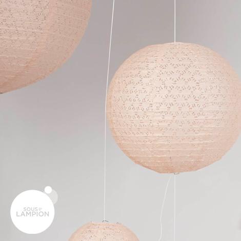 large peach eyelet paper lantern