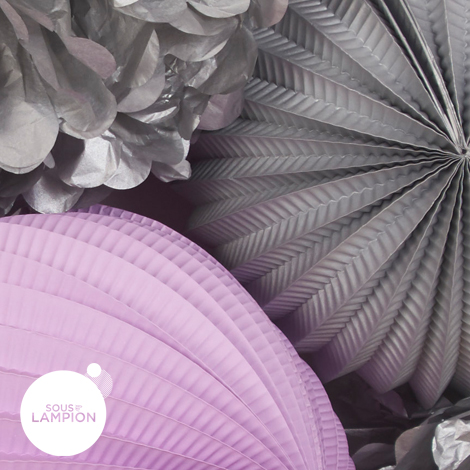 Lilac and silver grey paper lanterns for kids decor
