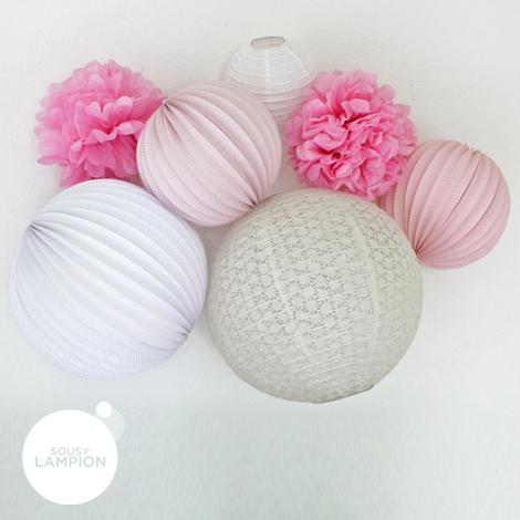 Pastel pink paper lanterns for nursery decor