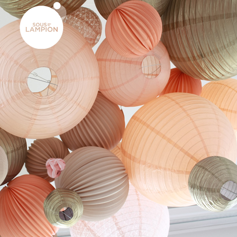 gold paper lanterns with peach shades lanterns