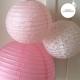 Lanterne en papier rose poudré, rose vintage et rose vintage ajouré