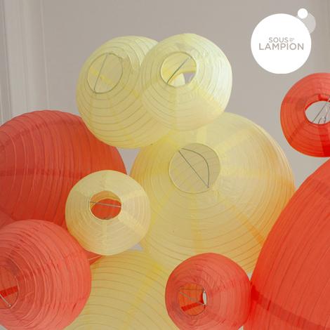 Lanternes sun pastel et rouge corail