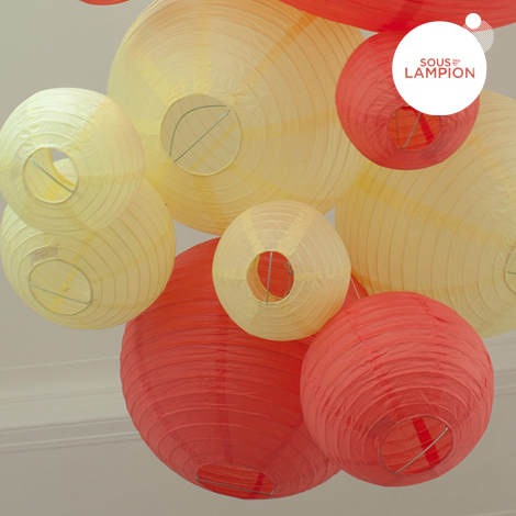 Paper lantern - 35cm - Coral red