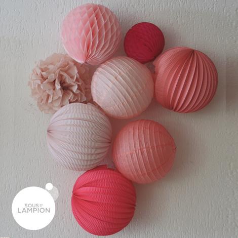 """Lanterne rose blush dans une composition avec les teintes """"rose"""""""