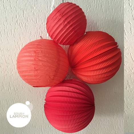 Paper lantern - 20cm - Coral red