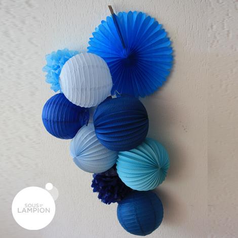 Lanterne Bleu Kos en composition