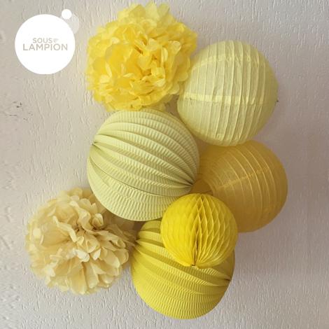 Accordion paper lantern - 20cm - New yellow