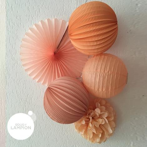 Paper fan - 35cm - Vintage peach