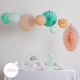 Mint party - set of 8 decorations