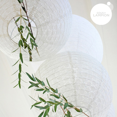Eyelet lantern - 25cm - White