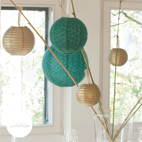 Lace paper lantern - 50cm - Dark green