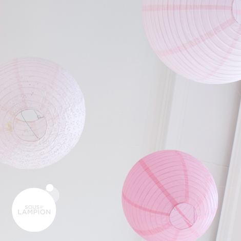 Pink and white wedding - set of 9 paper lanterns