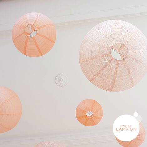 Peach and pink wedding - set of 9 paper lanterns