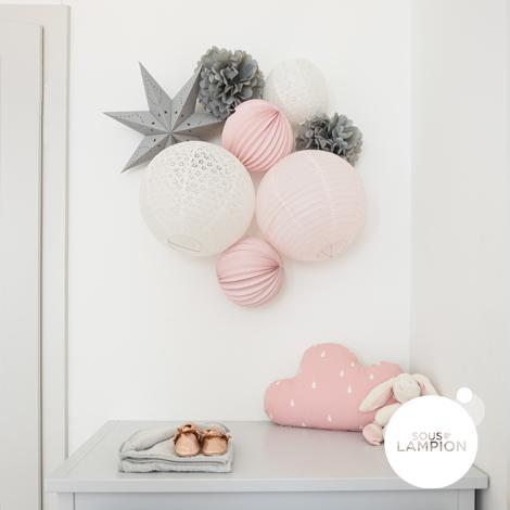 boules papier rose et gris pour décoration de chambre