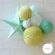 mint and yellow paper lanterns for nursery decor