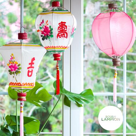Lampions chinois colorés pour décoration d'intérieur