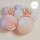 Lampions et boules papier dans les tons de rose pour décorer un anniversaire ou une chambre de petite fille