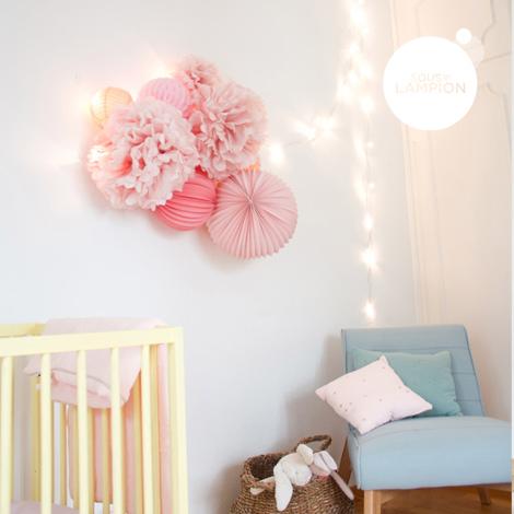 Lampions rose pastel pour décorer une baby shower et une chambre de bébé