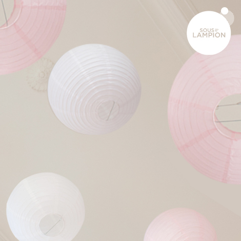 Pink and white wedding - set of 9 paper lanterns