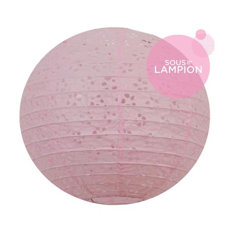 Petite lanterne en papier rose dentelle décoration chambre fille