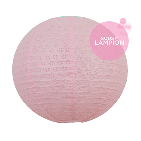 Pink eyelet paper lantern for wedding decor