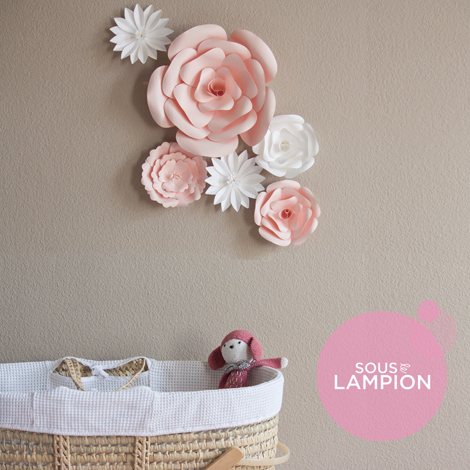 Giant paper flowers for nursery wall decor