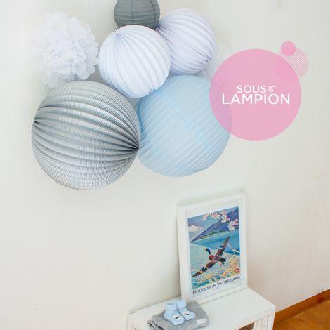 Décoration murale pour chambre de bébé bleu et gris