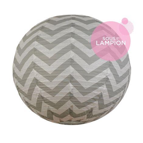 Chevron paper lantern - 35cm - Cumulus grey