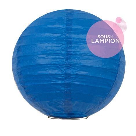 mini lanterne en papier bleu vif