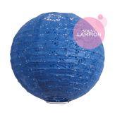Lanterne en papier aspect dentelle bleu nuit pour la décoration d'un mariage ou d'un intérieur