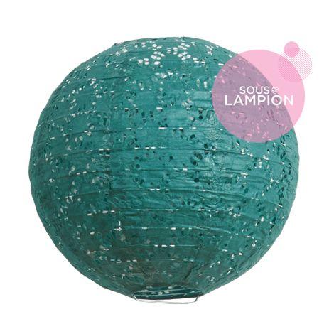 Lanterne en papier aspect dentelle vert profond