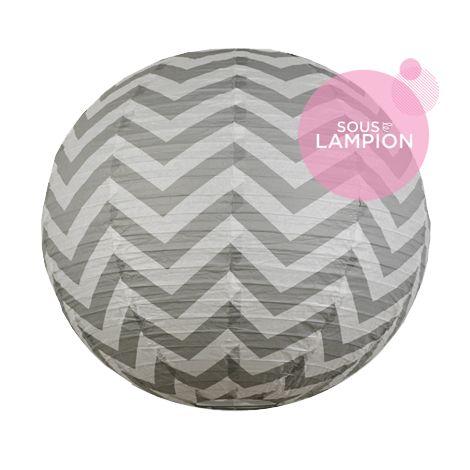 Chevron paper lantern - 50cm - Cumulus grey