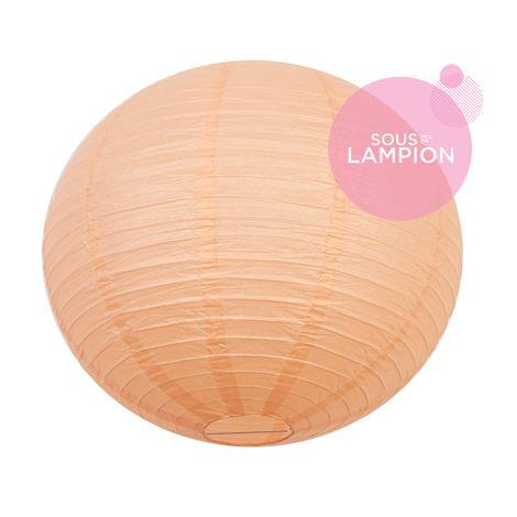Grande lanterne en papier pêche pastel pour une décoration de plafond de mariage ou deco maison