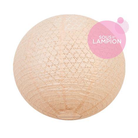 Lace paper lantern - 50cm - Peach mist