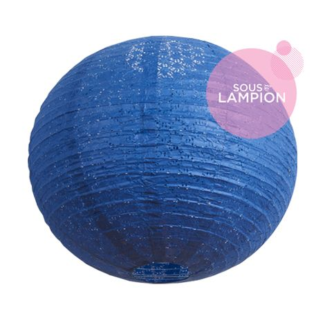 Grande lanterne aspect dentelle bleu nuit