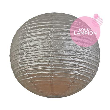 Très grande lanterne en papier argent pour une décoration de tente ou chapiteau de mariage