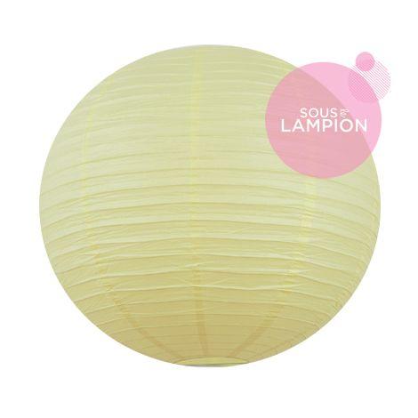 Très grande lanterne en papier jaune pastel pour une décoration de tente ou chapiteau de mariage